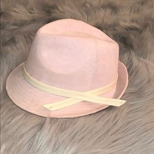 Accessories - Faux Suede Pink and White Fedora